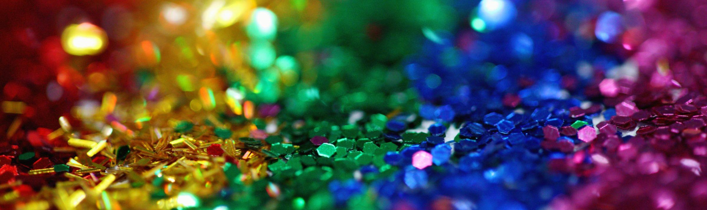 Picture of rainbow confetti.
